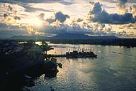 A picture of Kuching harbour at sunste; Sarawak, Malaysian Borneo