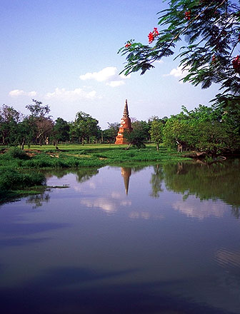 Stupa Across the Pond<br>Ayuthaya, Thailand: Ayuthaya, Thailand : Temples; Lakes.