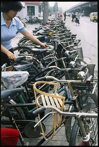 Rows of Bicycles :: Beijing, China: The City, Beijing, People's Republic of China : City Scenes; Bicycles.
