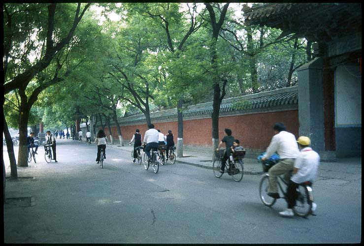 Cycling past the front gate<br><br>Kong Miao--The Confucius Temple :: Beijing, China: The Confucius Temple, Beijing, People's Republic of China : Bicycles.