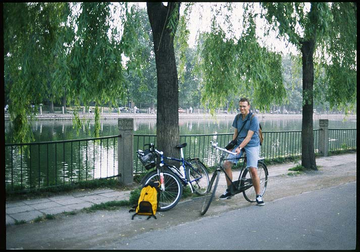 Jirka on his Phoenix bicycle<br><br>Shisha Houhai Lake :: Beijing, China: The City, Beijing, People's Republic of China : Bicycles; Lakes.