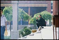 A monk in repose at Yonghe Gong :: The Lama Temple  :: Beijing, China