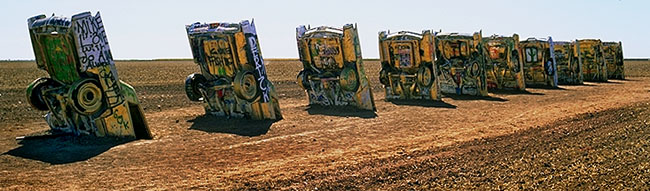 Cadillac Ranch<br>Amarillo, Texas: Cadillac Ranch, Texas, United States of America : Monuments; Cars.