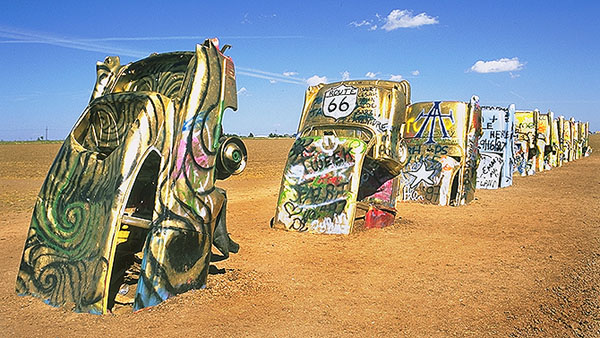 Cadillac Ranch<br>Amarillo, Texas: Cadillac Ranch, Texas, United States of America : Monuments.