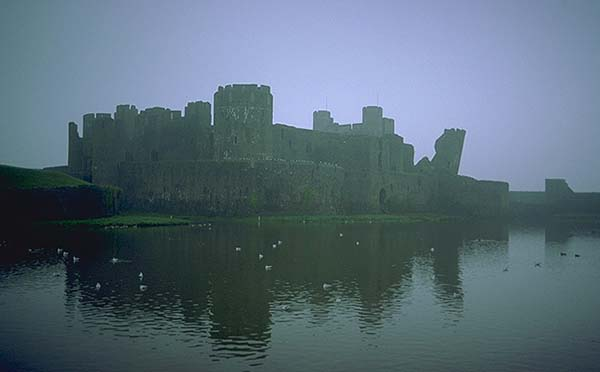 A Welsh Castle<br>Caerphilly, Wales.: Caerphilly, Wales, United Kingdom : Lakes; Ruins and Restorations.