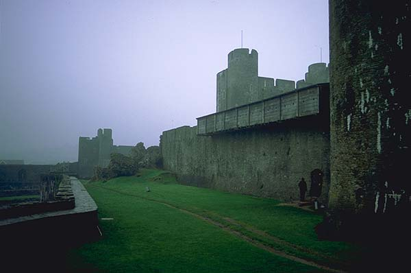 A Welsh Castle<br>Caerphilly, Wales.: Caerphilly, Wales, United Kingdom : Ruins and Restorations.