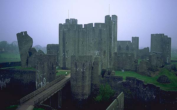 A Welsh Castle<br>Caerphilly, Wales.: Caerphilly, Wales, United Kingdom : Ruins and Restorations; Buildings.