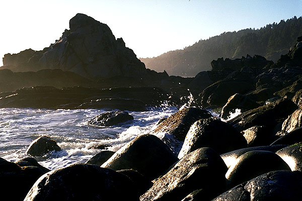 Late Afternoon Breakers on the Rocks<br>Northern California, USA: California Coast, California, United States of America : Coastal Shoreline Scenes.