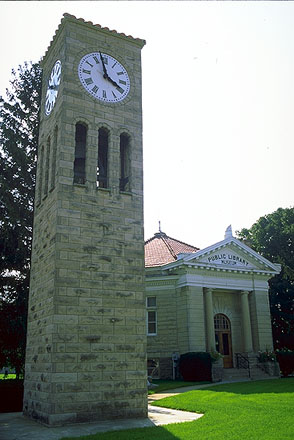 An Octagonal Library<br>And a Clock Tower<br>South of Springfield, Illinois: Illinois Route 66, Illinois, United States of America : Museums; Buildings.