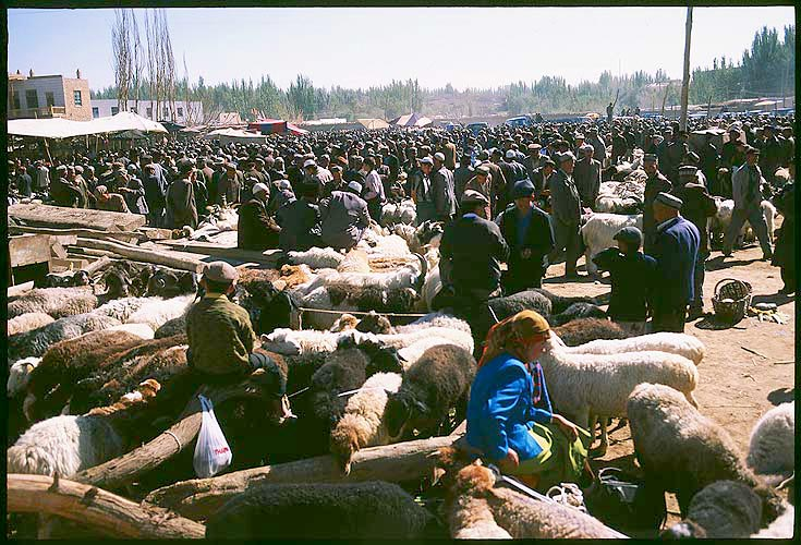 The Livestock Market<br><br>Kashgar :: Xinjiang, China: Kashgar, Xinjiang, People's Republic of China : Food Stalls and Markets; Crowds.