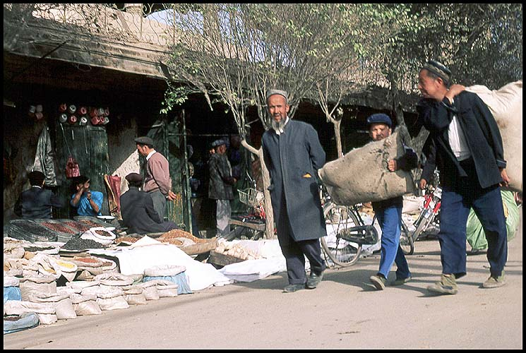 The Thursday Market<br>Kuqa :: Xinjiang, China: Kuqa, Xinjiang, People's Republic of China : People You Meet; Food Stalls and Markets.