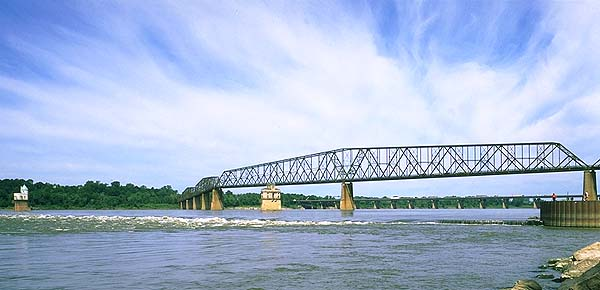 The Chain of Rocks Bridge<br>Crossing the Mississippi River to Missouri<br>Granite City, Illinois: Illinois Route 66, Illinois, United States of America : Rivers; Bridges.