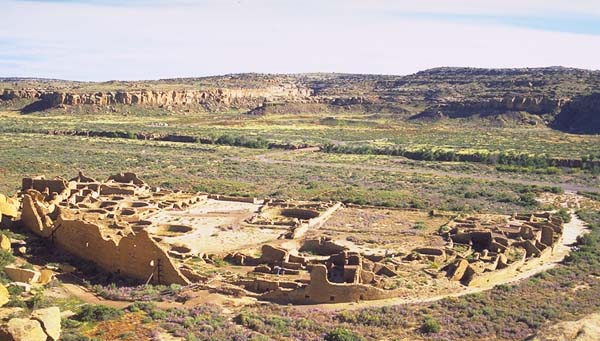 Pueblo Bonito<br>A Chaco Canyon Great House<br>Near Thoreau, New Mexico: Chaco Canyon, New Mexico, United States of America : Ruins and Restorations; Engineering Feats.