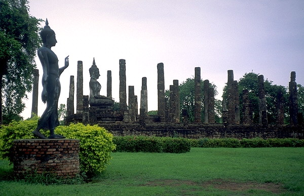 Two Buddhas, One Descending<br>Sukhothai, Thailand: Sukhothai, Thailand : Ruins and Restorations; Buddha Images.