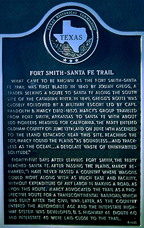 Santa Fe Trail historical marker<br>Western Texas: Texas Route 66, Texas, United States of America : Signs; Monuments.