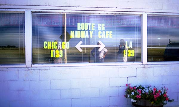 Halfway there<br>The Midway Cafe<br>?Adrian?, Texas: Texas Route 66, Texas, United States of America : Eat-Drink; Signs.