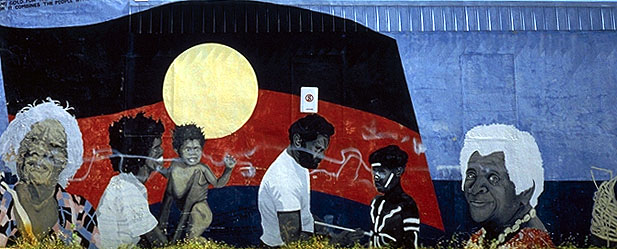 Aboriginal Flag<br>Wall Mural in Townsville<br>Queensland, Australia: Queensland, Australia : Indigenous Peoples.