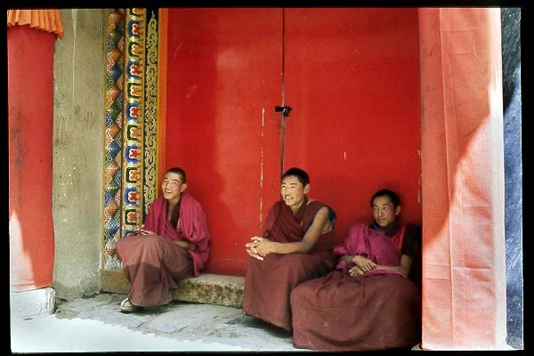 Three young monks.: Xiahe -- Labrang Si, Gansu, People's Republic of China : People You Meet.