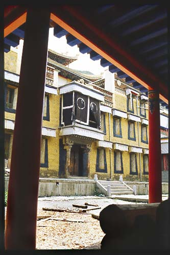 Courtyard under renovation.: Xiahe -- Labrang Si, Gansu, People's Republic of China : Buildings.
