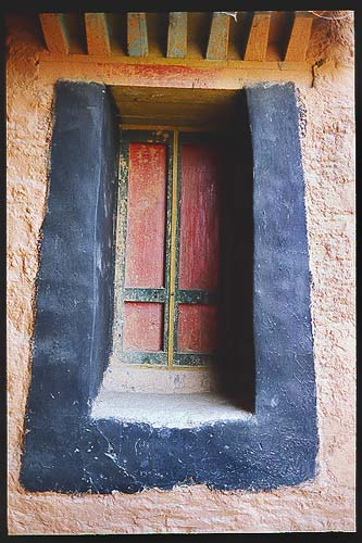 Just a window.: Xiahe -- Labrang Si, Gansu, People's Republic of China : Details; Buildings.