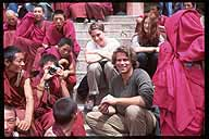 Patrick at Labrang Si, with several robed friends.