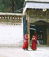 Two young monks delivering yak butter candles.
