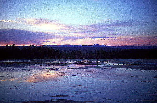Thermal Flows at Sunset<br>Midway Geyser Basin<br>Yellowstone National Park<br>Wyoming, USA: Yellowstone National Park, Wyoming, United States of America : Geological Formations; Sunsets.