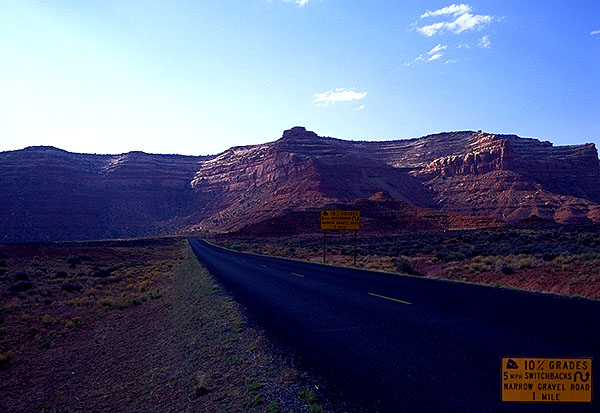 The Road to Natural Bridges National Monument<br>Near Goosenecks State Park<br>Arizona, USA: Utah, United States of America : Landscapes; Geological Formations.